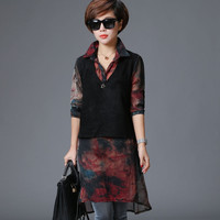 2016 New Women Blouse Spring Fashion Casual Loose Printing Long Blouses Long Sleeve Patchwork Vintage Chiffon Blouse 7880