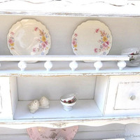 Vintage Wall Cupboard. Hutch Top. Sideboard. White Shabby Chic. French Country Cottage. China Cabinet Display.