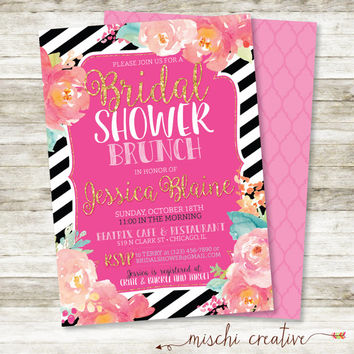 "Watercolor Flowers and Stripes Bridal Shower Brunch Invitation in Pinks, Corals and Aqua, 5"" x 7"""