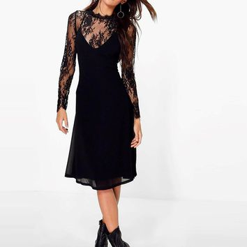 Boohoo Lace Detachable Top Slip Dress