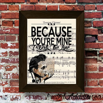 One of a kind Limited Johnny Cash Inspired Music lyric Art print Upcycled Early 1900's Music Book  #0001