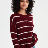 AE Stripe Pocket Crew Neck Sweater, Burgundy