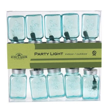 Glass Mason Jar Fairy String Light Set, 10-LED, Blue