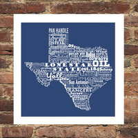 Texas State Word Art Typography Print The Lone Star State Typography Art