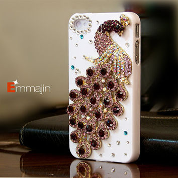 White Iphone 4 cases,Iphone 4s cases,Iphone accessory--purple crystal peacock,custom order for bling peacock,HTC ,Motorola,blackberry case