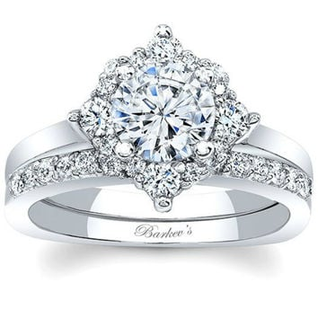 Barkev's Compass Set Diamond Halo Bridal Ring Set with Prong Set Diamond