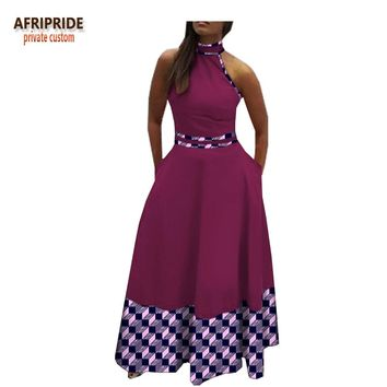 african print spring casual women dress AFRIPRIDE customzied sleeveless ankle-length women casual pure cotton dressA1825009