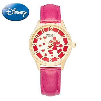 Genuine Disney Mickey Mouse Bling Leather Watch.  Comes in Several Colors