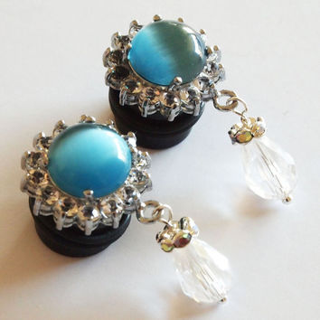 Acrylic Dangle Plugs 13mm 1/2 Sky Blue Cats Eye by Glamsquared