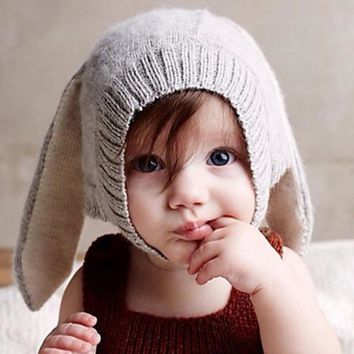 Novelty Grey Rabbit Ears Baby Cap Men Women Fall Winter Infant Children Wool Knit Hat Shape