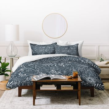 Heather Dutton Botanical Sketchbook Midnight Duvet Cover