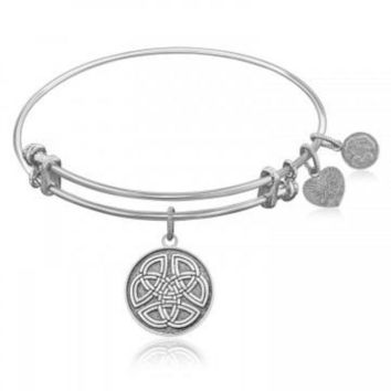 ac NOVQ2A Expandable Bangle in White Tone Brass with Celtic Round Completeness Symbol
