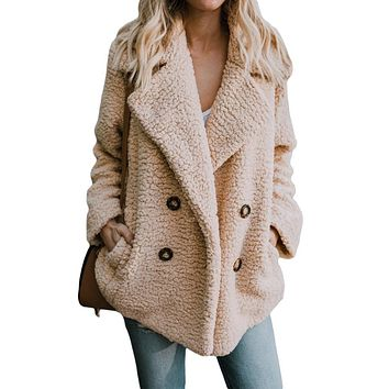 Women Khaki Fleece Open Front Coat With Pockets