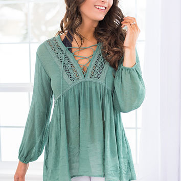 Down in Sedona Lace Up Crochet Hi - Low Babydoll Top (Cactus Green)