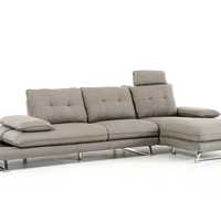 Divani Casa Porter Modern Grey Fabric Sectional Sofa - Right Facing