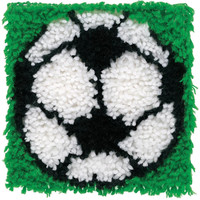Wonderart Soccer Ball Latch Hook Rug Kit Kids Craft Kit 12 x 12 Square Made in the USA