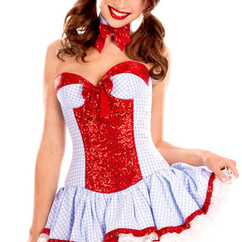 Sweet Sequined Country Girl Costume LC8853 Halloween Costumes for Women fantasias Sexy Dress