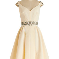 Trashy Diva Long Cap Sleeves Fit & Flare Shindig by the Skyline Dress in Ivory