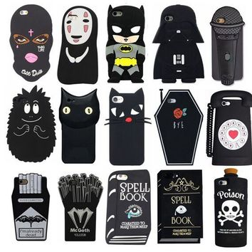 Black Dark Cool Face Cartoon Cute 3D Soft Cover Silicone Phone Case for iPhone 8 7 6 6S Plus 5 5S SE 5C X
