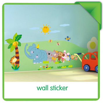 Cartoon Elephant Animal Relay Wall Sticker For Baby Room Art Wall Stickers & Animal Wallpaper Kids Room Wall Decal SM6