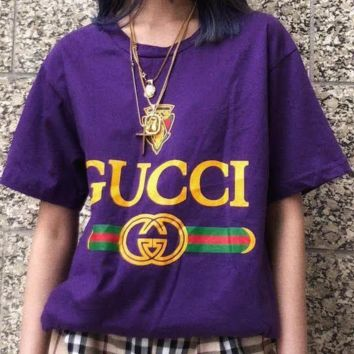Gucci Women Fashion Short Sleeve Pure cotton Print Round collar Top