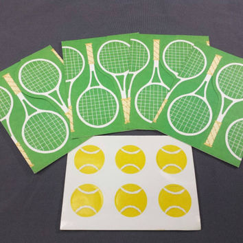 Vintage Tennis Cards & Seals, Set of 8, Blank Unused, Tennis Racket Balls Stickers, Hallmarks, Retro Party Invitations, Thank You Cards
