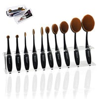 Pro 10 pcs Soft Oval Toothbrush Makeup Brush Sets Foundation Cream Contour Powder Blush Concealer Brush Cosmetics Tool Set