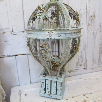 Huge hot air balloon birdcage very rusted  distressed hand painted cream robins egg blue metal rusty roses and vines home decor anita spero