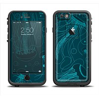 The Dark Vector Teal Jelly Fish Apple iPhone 6/6s LifeProof Fre Case Skin Set