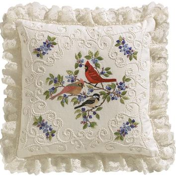 "Birds & Berries-Stitched In Thread Janlynn Candlewicking Embroidery Kit 14""X14"""