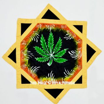 Black  Yellow Marijuana Dapo Star Cloth Finger Spinner Game on RoyalFurnish.com