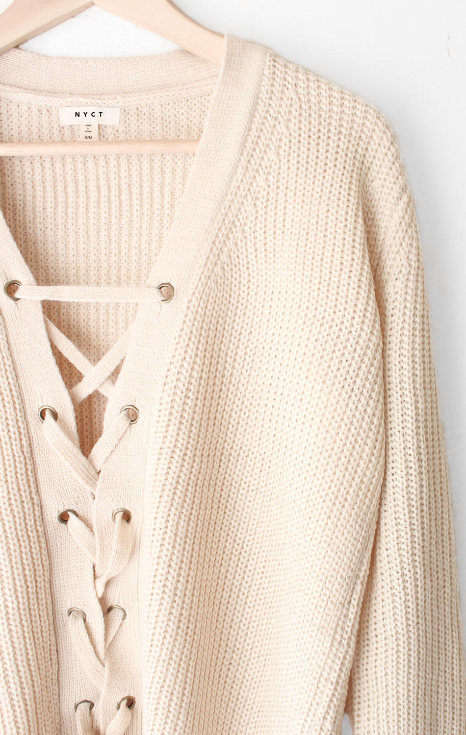 Oversized Lace Up Knit Sweater - Cream from NYCT Clothing  d9b3ef673