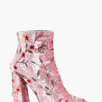 Isabelle Embroidered Velvet Ankle Boot | Boohoo