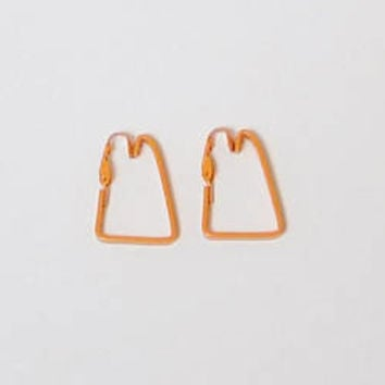 Orange Clip On Earrings, Triangle, Groovy Hippy, Hippie Jewelry, Boho, Painted, Enameled, Never Worn, Vintage 70s 80s, Costume Jewelry