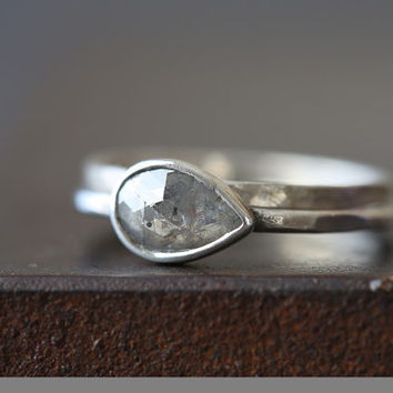 Custom Natural Rose Cut Silver- Grey Diamond ring- Sterling