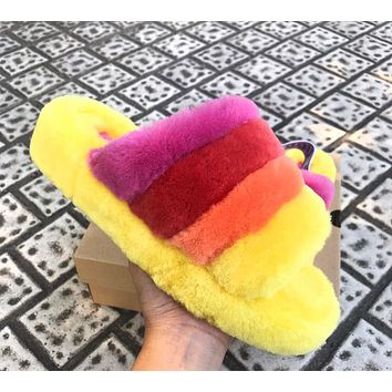 UGG Hight Quality Women Fashion Fur Flats Contrast Color Keep Warm Shoes Sandals Slipper