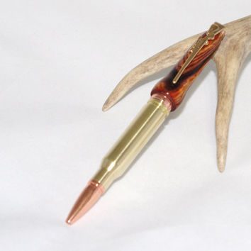 308 Bullet Cartridge pen with Rifle Clip. Great gift idea. Handmade. Cocobolo Wood