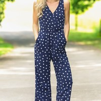Connect The Polka Dots Navy Jumpsuit