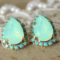 Mint Crystal big teardrop stud earring - 14k plated gold post earrings real mint and turquoise swarovski rhinestones .