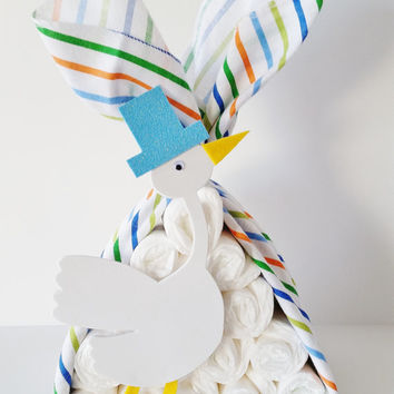 Stork Bundle Baby Shower Gift, Stork Centerpiece, Stork Baby Shower Decor, Baby Boy Gift