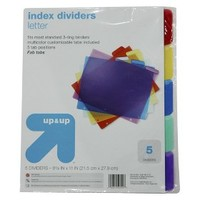 "up & up™ 5-pk. Assorted Index Dividers - 8.5""x11"""