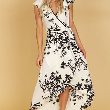 Garden Print Wrap Dress White