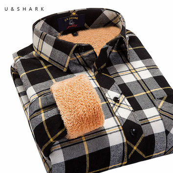 Men Shirt New Winter Fashion Fleece Warm Long Sleeve Black Plaid Shirt Male Casual Winter Warm Flannel Shirt