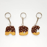 Key chain 3D cookie waffle chocolate letters alphabet sweet cute charm fashion polymer clay hand made gift funny humor for kids her birthday