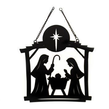 Home & Garden NATIVITY SCENE METAL GARDEN FLAG Metal Holy Family 44037