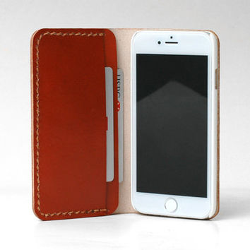 Personalized Leather IPhone 5 Case / Iphone 5 wallet / Women's or Men's iPhone 5s Case wallet / Cognac Brown