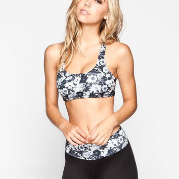 Full Tilt Sport Floral Print Sports Bra Black/White  In Sizes