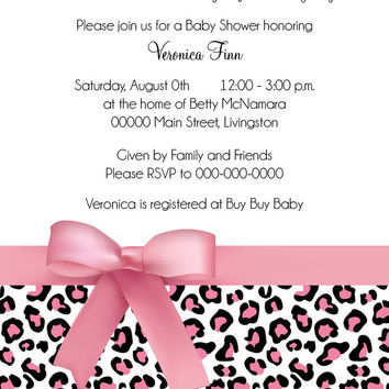 Pink Cheetah Baby Shower Invitation, Birth Announcement, First Birthday Party Invitation Digital File OR Printed
