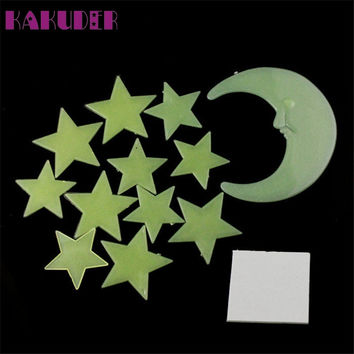 1 Set Moon Stars Color Glow In The Dark Luminous Fluorescent Wall Stickers Decal Levert Dropship mar7