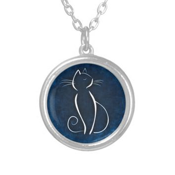 Abstract White Cat Round Necklace